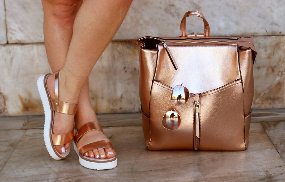 rose gold backpack streetstyle monday inspiration