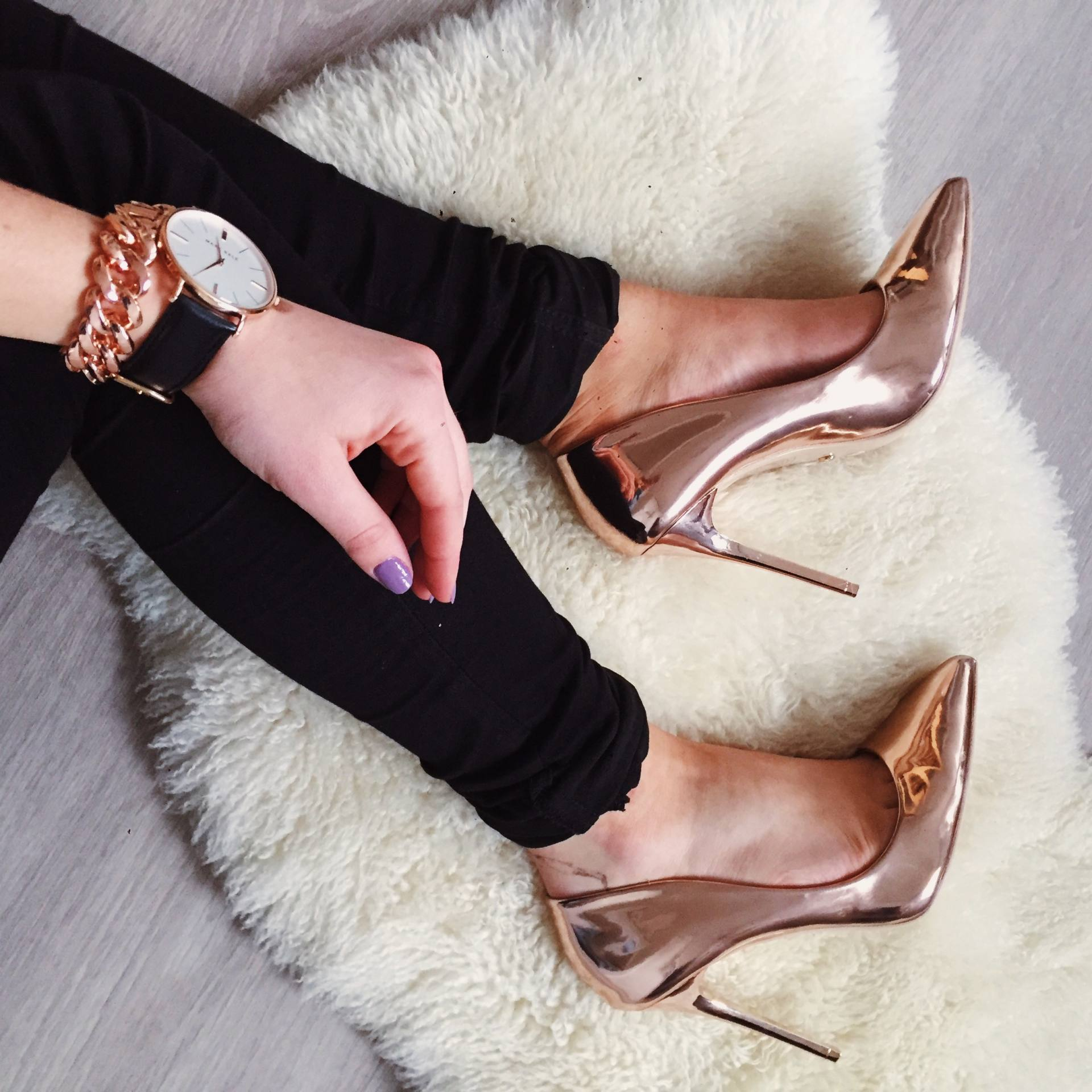 Nude And Gold High Heels