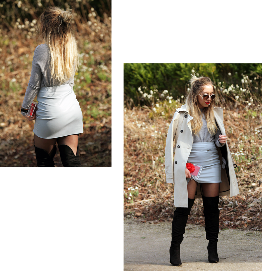 OUTFIT OF THE DAY | Baby Blue Leather Skirt - Lily Like
