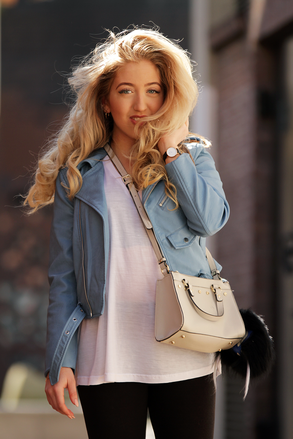 OUTFIT OF THE DAY | Zara Blue Leather Jacket - Lily Like