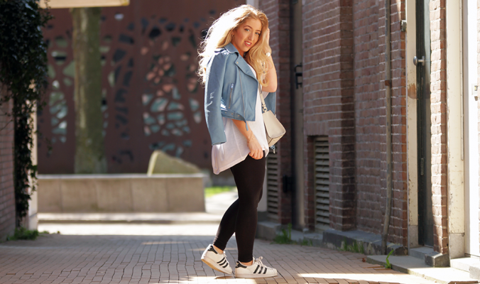 OUTFIT OF THE DAY | Zara Blue Leather Jacket