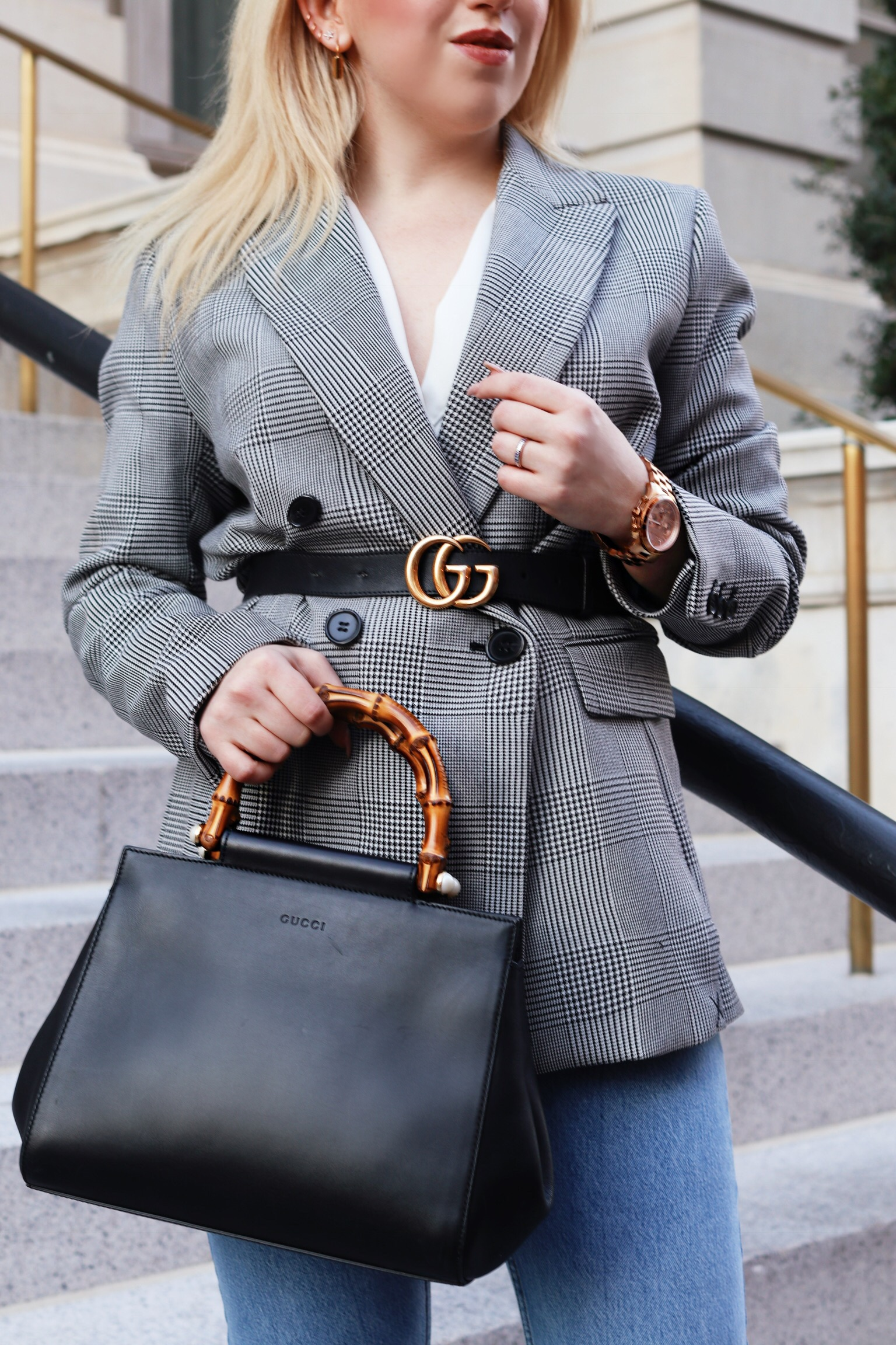 Belt Over Blazer Outfit