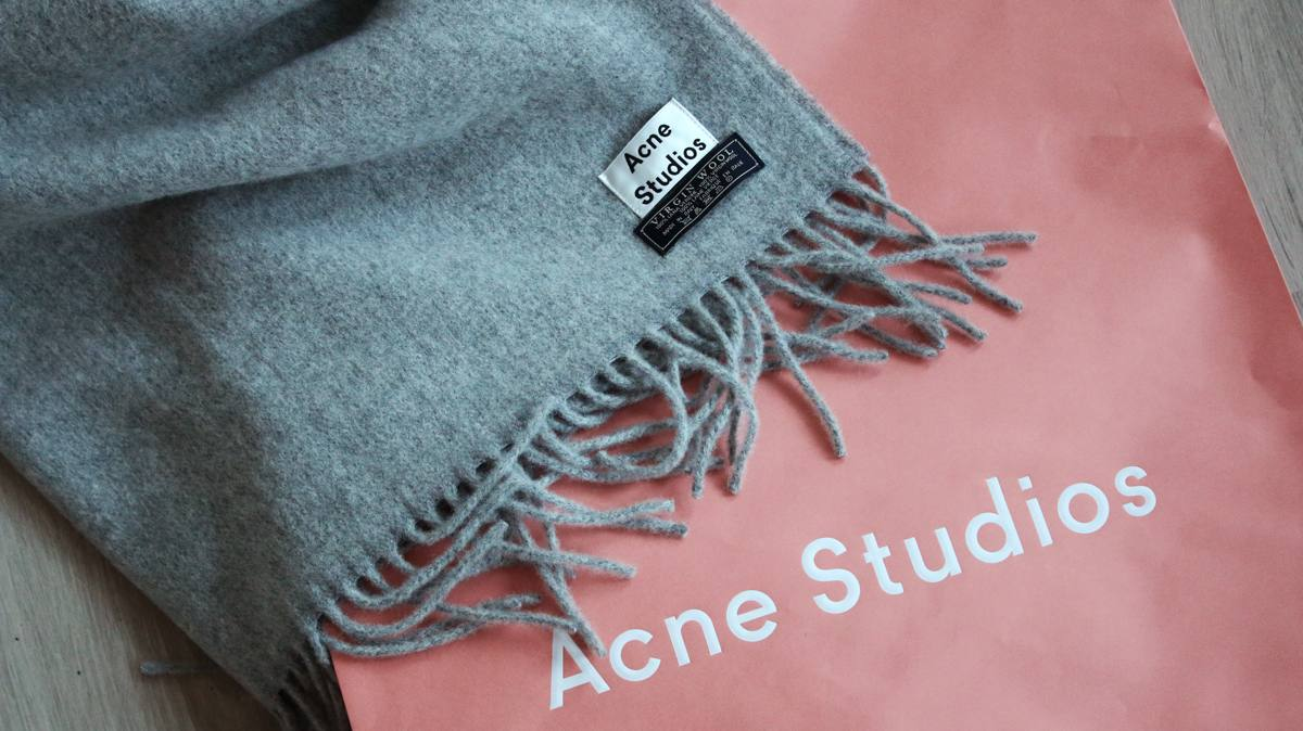 NEW IN   Acne Studios Canada Light Grey Melange Scarf